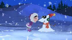 Isabella kisses Phineas Snowman