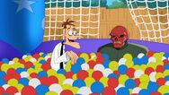 Doof and Red Skull in a ballpit