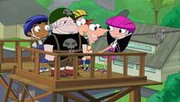 Phineas helping Isabella back at the platform.jpg