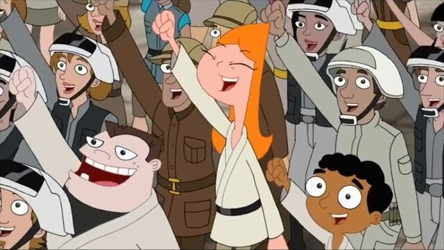 File:Candace, Buford and Baljeet cheer Rebel, Let's Go again.jpg
