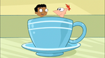 Baljeet and Phineas inside the tea cup