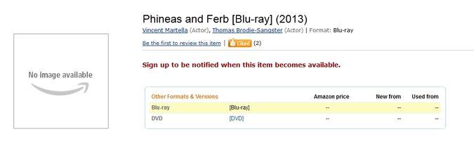 P&F Blu-ray Amazon listing