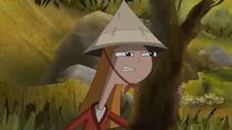 Chinese Candace behind a tree 2