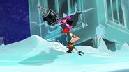 Phineas ice skating while Isabella drills