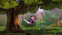 Phineas pushes Isabella on a swing