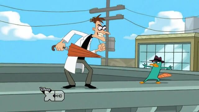 File:Doofenshmirtz about to attack Perry with an umbrella.jpg