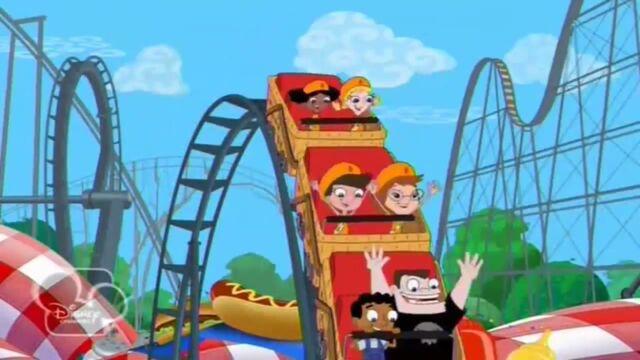 File:Fireside Girls riding on the basket rollercoaster.jpg