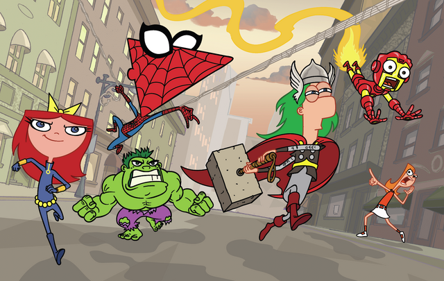 File:Phineas and Ferb Avengers Cosplay.png