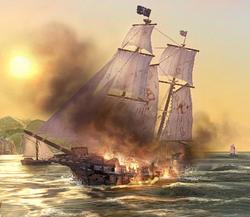 AOTD schooner in flames