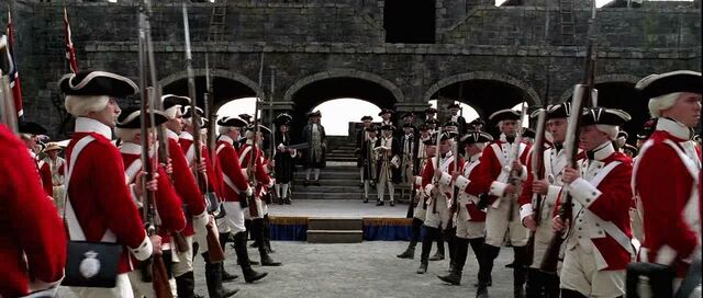 File:Royal Marines and officer in Fort Charles.jpg