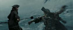 Jack fighting Jones on the mast of the Dutchman