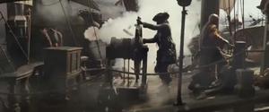 Pirate ship under fire