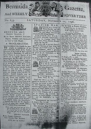 423px-Bermuda Gazette - 12 November 1796