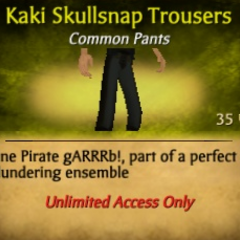 Dark Gray Kaki Skullsnap Trousers