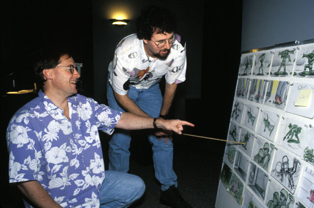File:Joe Ranft John Lasseter 1.jpg