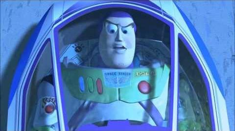 Toy Story 2 - Buzz tied up in a display box.