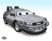 What the Delorean from Back To The Future would look like as a Pixar Cars character