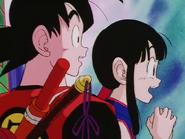 Goku i Chichi nieopodal paleniska