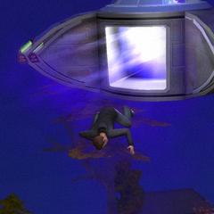 UFO wyrzucające Sima W The Sims 2.