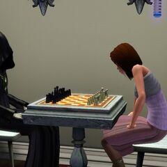 Mroczny Kosiarz gra w szachy z Simem