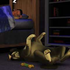Śpiący pies z The Sims 3 Zwierzaki.
