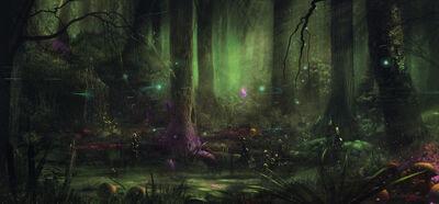1600x742 7119 Fairytale swamp 2d landscape magic matte painting swamp fairytale fantasy forest picture image digital art