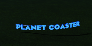 Planet Coaster Curve Sign at night