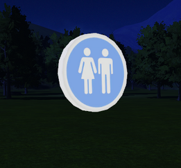 Male - Female Toilet Sign - Small at night