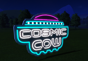 Cosmic Cow Large Neon Sign at night