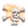 Chrome Flaming Skull Hood Ornament
