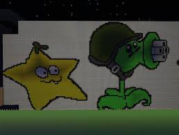 File:Starfruit in minecraft next to a gatling pea.jpg