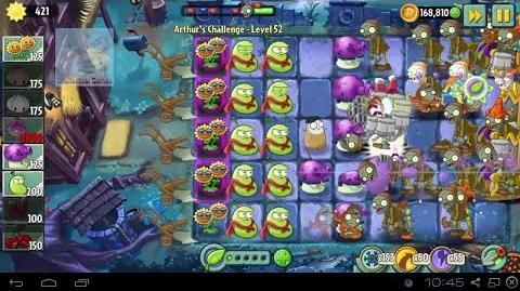 Arthur's Challenge Level 51 to 55 Good Bye Magnet Laser Fume Battle Plants vs Zombies 2 Dark Ages