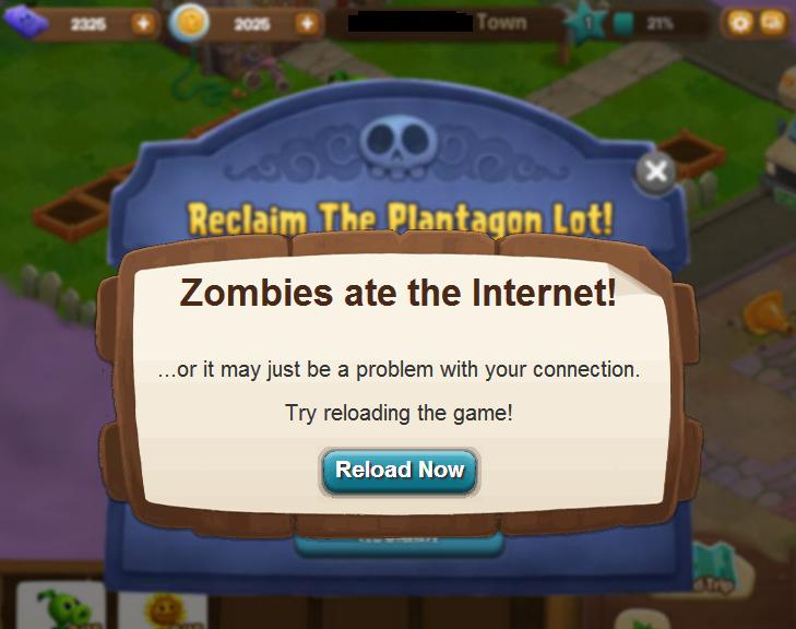 Funny PvZA error message