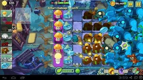 Arthur's Challenge Level 76 to 80 Boost Battle Plants vs Zombies 2 Dark Ages