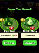 Choice between Pea Pod and Bonk Choy