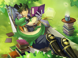 File:Pokemon Conquest -Motonari Reading with Servine.png
