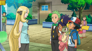 Cynthia with Ash, Iris and Cilan