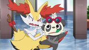 Serena Braixen and Pancham glaring