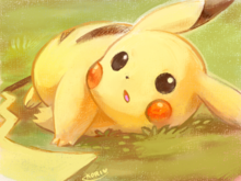 Pikachu laying on the grass by kori7hatsumine-d7ra902