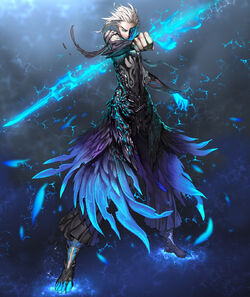 Blade-and-Soul-anime-boys-eyepatch-feathers-male-white-hair