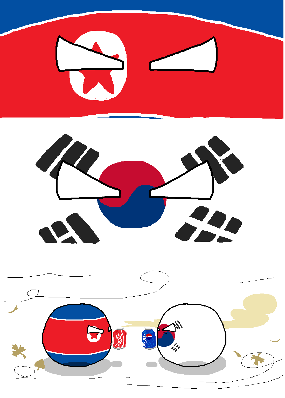 North Koreaball an South Korea sodas.png
