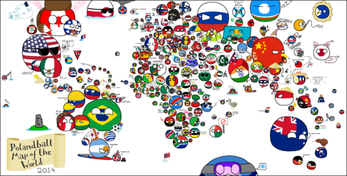 Reddit brain4breakfast Polandball Map of the World 2014