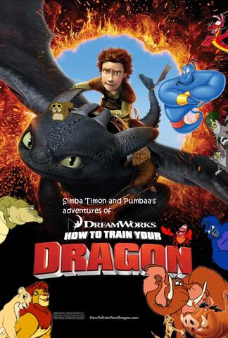 File:Simba Timon and Pumbaa's adventures of How to Train Your Dragon Poster.jpg