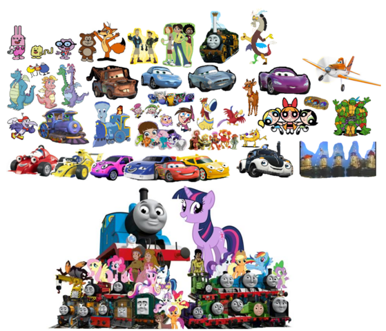 File:Roary the Racing Car and Theodore Tugboat's Whole team.png