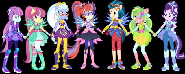 File:The CPA Shadowbolts, Moondancer and Starlight Glimmer in their anthro-pony crystal forms.png