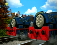 The twins in their blue livery