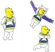 Pooh in his space ranger uniform in 3 poses by yakkowarnermovies101-d9q7ccn