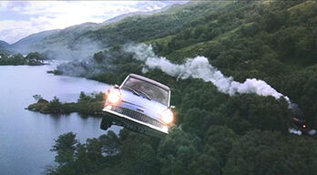 The Ford Flying Anglia flying