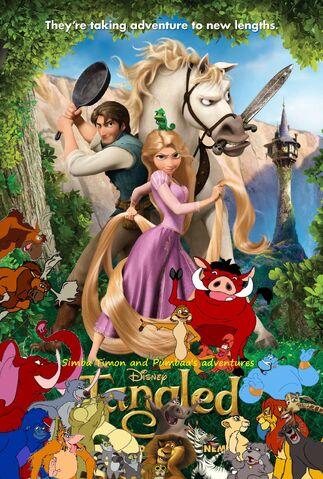 File:Simba Timon and Pumbaa's adventures of Tangled Poster 1.jpg