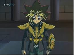 File:Yugi holding the capsule launcher and having on the Duel Armor.jpg